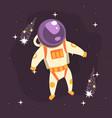 cosmonaut in space suit at spacewalk in open space vector image vector image