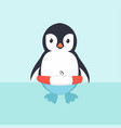 cute penguin in inflatable ring cartoon vector image