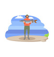 fisherman with fish in hands vector image vector image