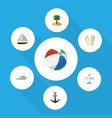 flat icon summer set of aircraft coconut sphere vector image vector image