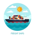 Freight ships transport background in flat design vector image