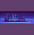 future city on artificial island background vector image vector image