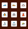 garment icons colored line set with gumshoes gown vector image vector image