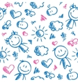 hand drawn kid pattern vector image vector image