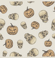 hand drawn scull and evil pumpkin seamless vector image vector image