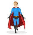 handsome young man in blue superhero costume vector image vector image