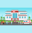 hospital exterior panorama medical building vector image vector image