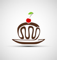 icons of chocolate cake with cherries vector image