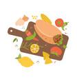 illustration cuttingboard burrito garlic lime vector image