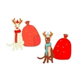 Isolated Christmas Dogs vector image vector image