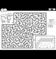 maze game with cow and pasture coloring book page vector image vector image