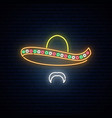 mexican man in sombrero glowing neon bright vector image vector image