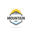mountain in hexagon template logo vector image