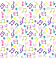 olorful music-notes and hearts on white background vector image vector image