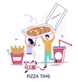 pizza time flat style design vector image