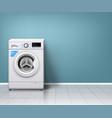 realistic washing machine background vector image vector image