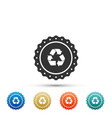 recycle symbol label icon on white background vector image vector image