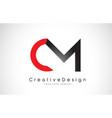 red and black cm c m letter logo design creative vector image