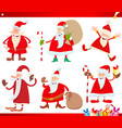 santa claus on christmas time cartoon set vector image vector image