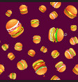 seamless pattern tasty burger grilled beef and vector image vector image