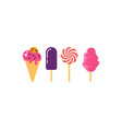 Set ice cream cotton candy lollipop sundae