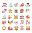 set of flat icons for Christmas and new vector image vector image