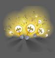 shining light bulb and set of lightbulb icons vector image vector image