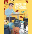 student with school supplies education vector image