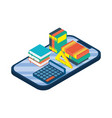 tablet electronic with ebook and calculator vector image vector image