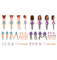 teenager girl character constructor creation set vector image vector image