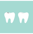 Tooth icon Healthy and bad ill tooth with caries vector image vector image