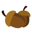 two acorn icon flat style vector image vector image