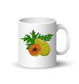 white mug with papaya vector image