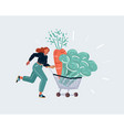 woman run wig trooley shopping cart with giatn vector image vector image