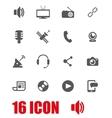 grey media icon set vector image