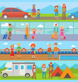 happy family people with suitcases vacation summer vector image