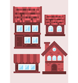 samples of brick houses on a light background vector image