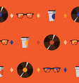 seamless pattern with hipster glasses vinyl vector image