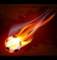 flying flaming soccer ball vector image