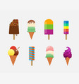 ice cream objects icons set vector image