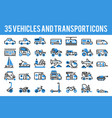 35 vehicle and transport monocolor icons sign and vector image