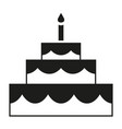 black and white birthday cake silhouette vector image vector image