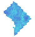 blue hexagon washington dc map vector image