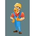 builder in helmet and respirator shows like with vector image vector image