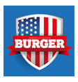 Burger vintage shield with USA flag vector image vector image