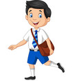 cartoon happy school boy in uniform vector image vector image