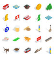 Central europe icons set isometric style