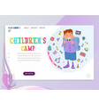 child camp home page template flat style vector image vector image