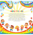 children slide down on a rainbow template vector image vector image