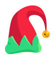 christmas holiday hat with bell isolated on white vector image vector image